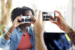 Photograph Camera Telephone Capture Technology Concept Stock Images