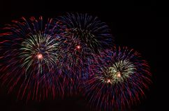 Colourful fireworks in the night sky Royalty Free Stock Photo