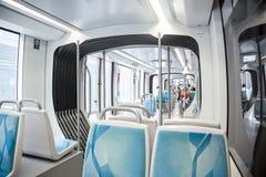 Dubai metro carriage interior. Photograph of the carriage interior of Dubai metro in 2017, clean, spacious and airconditioned space, Dubai, Arabian Emirates stock photos