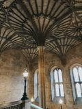 Photograph of the ceiling at the entrance to  the Great Hall of Christ Church College of the Oxford University stock image