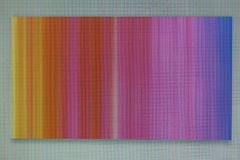 A photograph of a chaotic colored striped noise on the monitor s. A macro photo of a chaotic colored striped noise on the monitor screen. A well-seen pixel royalty free stock image