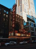Chicago Theater, Illinois, USA. The photograph of Chicago urban style, architecture, buildings, skyscrapers, travel, adventures, channel, tube, overground Royalty Free Stock Image