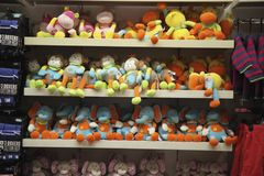 Potchefstroom. Score. A photograph of children`s soft toys on a counter in a shop in the town of Potchefstroom under artificial lighting Stock Photos