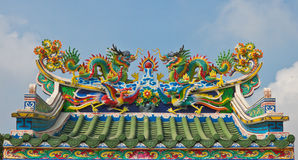 Chinese dragons statue on roof top Royalty Free Stock Photos