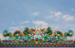Chinese dragons statue on roof top Stock Image