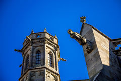 Cacassonne church tower. Photograph of church tower of Cacassone ,Carcassonne, France Royalty Free Stock Photography