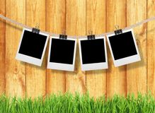 Photograph. Clothesline Instant Camera Five Objects Clothespin Rope Single Line Stock Image