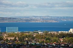View of the Firth of Forth in Edinburgh and the Fife coastline stock image