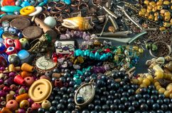 Colorful beads, buttons and decorative accessories. Photograph of colorful beads, buttons and decorative accessories with some interesting textures Stock Images