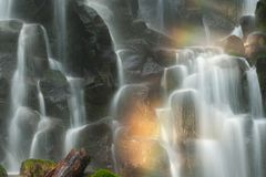 Cool mist and rainbow of Ramona Falls, Oregon Stock Image