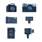 Photograph digital equipment camera vector illustration. Royalty Free Stock Images