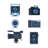 Photograph digital equipment camera vector illustration. Royalty Free Stock Photography