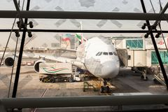 Dubai Airport, Emirates Airlines A380 double decker plane royalty free stock photo