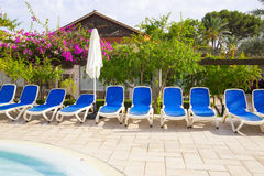 Photograph of empty sunbeds around a swimming pool with landscaped gardens in the background Royalty Free Stock Photo