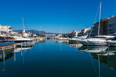 Empuriabrava. Photograph of Empuriabrava canal in a sunny day, Empuriabrava, Catalonia, Spain Stock Images
