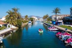 Empuriabrava. Photograph of Empuriabrava canal in a sunny day, Empuriabrava, Catalonia, Spain stock image