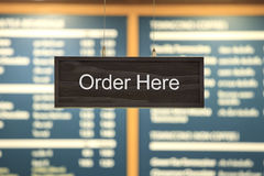A photograph of a fast food ordering speaker taken Stock Image