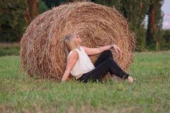 Photograph of a field with rolls of hay that will be food for farm animals stock photography