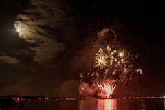 Firework in Aalsmeer. This is a photograph of the fireworks show in Aalsmeer, the Netherlands royalty free stock image