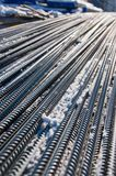 Photograph of the fittings with snow close-up at a construction site in winter. stock images
