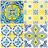 Four tiles in yellow and blue Stock Photo