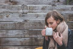 Photograph, Girl, Sitting, Winter Stock Image