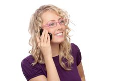 The photograph of the girl telephoning Royalty Free Stock Photo