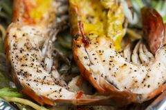 Grilled Prawns. Photograph grilled prawns on a plate stock images