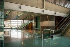 Dubai metro station interior. Photograph of an interior of Dubai metro station, metal, steel, glass construction, Dubai, Arabian Emirates stock image