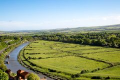 The River Ouse at Lewes. A photograph looking down on the curve of the River Ouse as it runs through Lewes, in Sussex Stock Photography