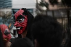 red devil on halloween day, of summer stock photography