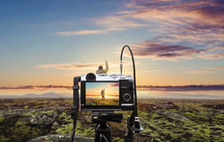 Photograph a natural landscape in sunrise, with blurred defocus backgrounds. Photograph a natural landscape in sunrise, with blurred defocus background Stock Photos