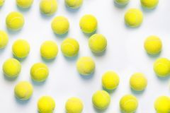 Photograph of numerous tennis balls from above. royalty free stock photo
