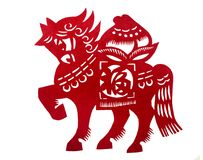 Antique Chinese papercut, Year of Horse. A photograph of an old traditional style china handicraft, the paper cutting of the animals of the zodiac years - this Royalty Free Stock Image