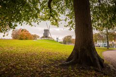 Beautiful park in Bruges with wind mills