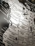 Geography of the world map in black and white. stock images