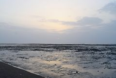 Natural Background - Ebb, Sea, Sandy Beach and Sky at Dawn Stock Photography