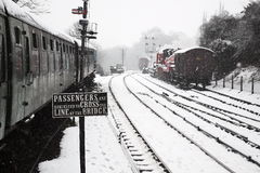 Railway sign in snow Royalty Free Stock Images