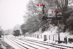 Railway signals in snow Stock Photos