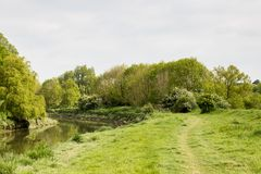 The River Ouse. A photograph of the River Ouse near Lewes in Sussex Royalty Free Stock Images