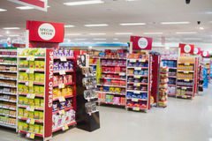 Photograph of shelves with promotions. In a supermarket stock photo