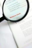 Studying fnance balance sheet Royalty Free Stock Images