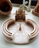 Clay model, Roman Classic architecture. A photograph showing a cute small scale model of an antique style Roman classical architecture of the St Peter`s Square royalty free stock photography