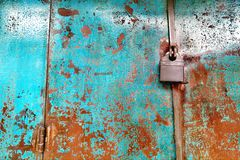 Lock on rusty old style gate Royalty Free Stock Photo
