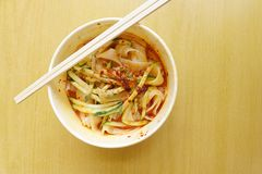 Chinese take away - cold noodles dish Royalty Free Stock Photo