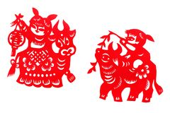 Antique china festival paper cuts Royalty Free Stock Images