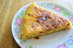 Sliced french omelette. Photograph of a slice of a french omellete stock photo