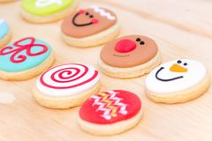 Christmas cookies with faces photograph. Photograph of some Christmas cookies with happy faces Royalty Free Stock Image