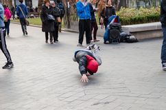 Photograph of some guys doing break dance in the streets of London, United Kingdom. stock photo