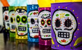 Traditional mexican day of the dead symbols. Photograph of some skulls and mexican symbols of traditional day of the dead celebration Royalty Free Stock Photos